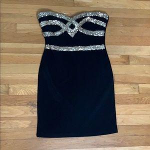 Black semi formal body con dress